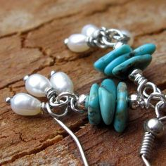 turquoise and pearl earrings by South Wind Design