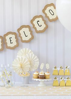 Throw a bee-utiful baby shower the easy way, with this Sweet As Can Bee Baby Shower Party Kit. Adorned with bee stripes, and sweet yellow throughout, this kit includes décor, favors, glassware, and more! 1 kit serves 24 guests.