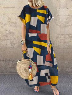 General Tunic Blue Day Dresses Polyester Casual Round Neckline Shift Dress Spring Maxi Summer Sleeveless S Color Block M L XL XXL Dress Maxi Dress With Sleeves, Short Sleeve Dresses, Day Dresses, Summer Dresses, Looks Plus Size, Themed Outfits, Latest Fashion Trends, Ideias Fashion, Tunic