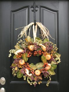 Autumn Pumpkins, Gourds and Fall Berries, Front Door Harvest Decor, Pumpkin Wreath by twoinspireyou on Etsy