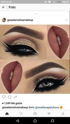 Make Up - eye makeup Make Up Looks, Skin Makeup, Eyeshadow Makeup, Glitter Eyeshadow, Eyeshadow Ideas, Brown Eyeshadow, Flawless Makeup, Eyeshadows, Makeup Cosmetics