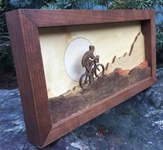 Our Shadow Boxes are designed by us, then precision laser cut. We hand stain, sand and assemble each piece. Each scene might have a slight variation of color, due to wood grain. We deliver quality craftsmanship with a strong attention to detail. Wooden Wall Art, Wood Art, 3d Laser Printer, Laser Cutter Projects, Wood Stain Colors, Wood Shadow Box, Laser Art, Wall Clock Design, Scroll Saw Patterns
