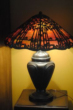 Arts&Crafts,Nouveau,Deco Double Signed Handel Tropical Sunset Slag Glass Lamp