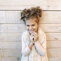 Little girl hairstyles Half up half down top knot messy