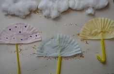 When learning about weather have children create weather their own rain storm! Using cup cake liners other supplies to make umbrellas and clouds show the weather.