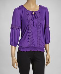 Take a look at this Purple Crocheted Shirred Scoop Neck Top by Simply Irresistible on #zulily today!
