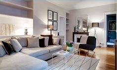 725 - Le Bac Saint Germain : le salon avec son large canapé... http://www.2beapart.com/Paris/le-bac-saint-germain-(725).apart