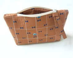 Quilted zippered brown cosmetic bag Quilted travel toiletry bag, knitting project bag, bird patterned