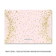 Blush pink + gold glitter look baby shower invitations with a whimsical, modern glam style. Great for bridal shower or birthday invites, too! at digibuddha.com