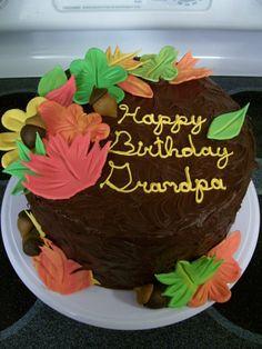 Fall birthday cake  (mine) Fall Theme Cakes, Fall Birthday Cakes, 50 Birthday, Themed Cakes, Decorated Cakes, Baby Time, Autumn Theme, Let Them Eat Cake, Cake Ideas