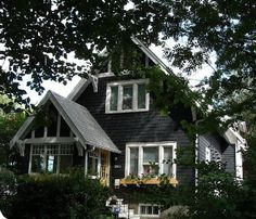 black on black cottage | Black Cottage, White Trim