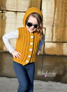 Sunkissed Hooded Vest crochet pattern in child sizes from Blackstone Designs Crochet Toddler, Crochet Bebe, Crochet Girls, Crochet For Kids, Easy Crochet, Free Crochet, Knit Crochet, Crochet Hats, Crochet Vest Pattern