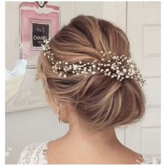 Image result for babys breath flowers for bridal hair