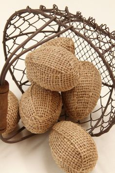 burlap wrapped eggs