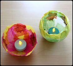 DIY: Wir basteln Lichtschalen aus Blättern, Kleister und Luftballons. DY für kreative Kinder.
