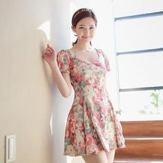 Short-Sleeve Floral Dress from #YesStyle