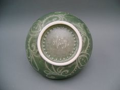 Green Oribe Glazed Bowl with Slip Trailed Designs by TillysTouch, $18.00