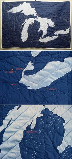 Great Lakes map quilt...Oh Man!! I love seeing my state in this format!! Nice Job!!