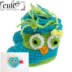 Crochet Owl Baby Boots With matching Hair Clip on Etsy, $18.00
