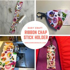 Celebrate National Craft Month by creating this easy ribbon chapstick holder. You only need two supplies and basic sewing skills. Ribbon Organization, Ribbon Storage, Bow Making Tutorials, Craft Tutorials, Baby Sewing Projects, Crafty Projects, Sewing Ideas, How To Make Chapstick, Ribbon Holders