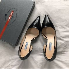 """NEW Prada Black Patent Pointed-Toe D'Orsay Pumps Impossibly chic, authentic black patent leather pointed-toe Prada D'Orsay pumps. Brand new with box! No flaws whatsoever! 2.5"""" heel. Size 41 but runs a little small due to the pointed toe. Prada Shoes Heels"""