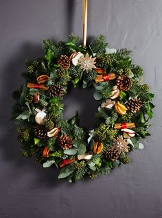 Packed full of festive texture, this joyous and bountiful Christmas wreath is filled with fragrant, mulled fruits and embellished with … Christmas Wreaths, Christmas Crafts, Xmas, Gingerbread Decorations, Gisela Graham, Outdoor Wreaths, Blue Spruce, Red Apple, Diy Wreath