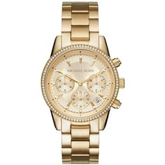 MICHAEL Michael Kors Ritz Chronograph Bracelet Watch, 37mm (14.825 RUB) ❤ liked on Polyvore featuring jewelry, watches, rose gold tone jewelry, chunk jewelry, quartz movement watches, chronograph watch and stainless steel watch bracelet