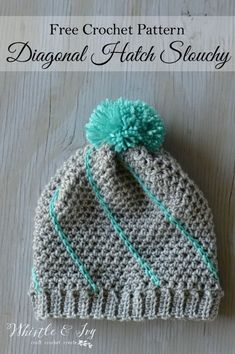Diagonal Hatch Slouchy Hat.