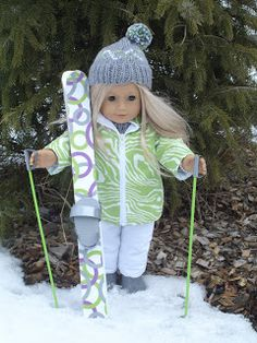 Arts and Crafts for your American Girl Doll: Skis and poles for American Girl doll