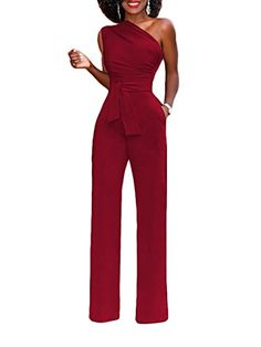 c42dcaee39 Famulily Women s Sexy Off One Shoulder Jumpsuit Club Outfit Wide Leg Long  Romper Pants with Belt