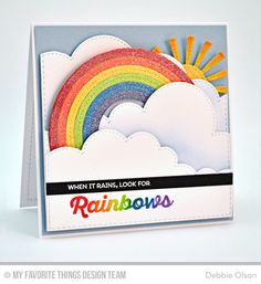 Handmade card from Debbie Olson featuring Rainbow of Happiness stamp set and Stitched Rainbow Die-namics #mftstamps