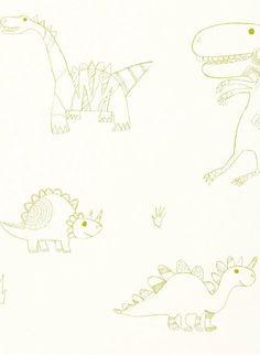 Dinos - Kindertapete von Harlequin - apfelgrün/ natur