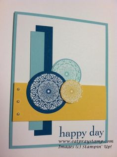 "Happy day-Stamps: Happy Day Paper: Pool Party - 8 1/2"" x 4 1/4"", 4"" x 1/2"" Island Indigo - 4 1/2"" x 3/4"" So Saffron - 4"" x 1 1/2"" Ink: Pool Party (126982), Island Indigo (126986), So Saffron (126957) Tools & Accessories: Island Indigo Circle 1 3/4"" outside, 1 1/2"" inside Pool Party Circle 1 3/8"" outside, 1 1/4"" inside  So Saffron Circle 1""  Dimensionals  Basic Pearls"