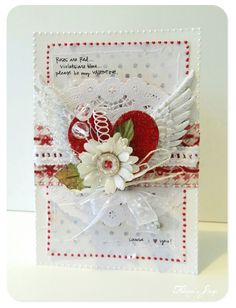 Valentines card with red felt and silk flower