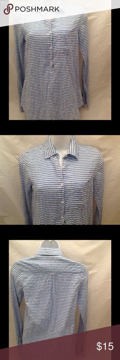 "J. Crew Striped Crinkled 1/2 Button Placard Blouse Color: Blue and white Print: Striped Crinkled material Single button cuffs. Collared Pocket on left chest 1/2 button placard Curved hem  Measurement (Flat): armpit to armpit 17"" / 28"" length from base of neck to hem Material: 99% cotton & 1% spandex Condition: Very Good- Pre Owned J. Crew Tops Blouses"