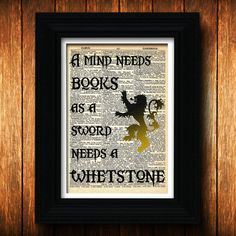 Game of Thrones quote - dictionary art print, fantasy, Lannister, swords, medieval, hero, books, Game of thrones art, Game of thrones print,