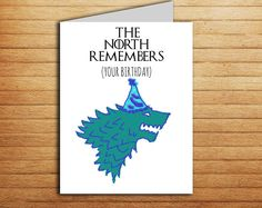 Game of Thrones card The North Remembers Your Birthday card Stark direwolf GoT gift for fan tv show Name day Funny Greeting card Printable