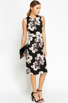 NEW Summer 2016 Fashion: Gorgeous Floral Black Smart Midi Dress