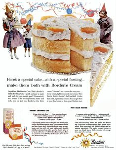borden dairy products half and half heavy cream cake 1957 Magazine Ad Retro Recipes, Old Recipes, Vintage Recipes, Cake Recipes, Dessert Recipes, 1950s Recipes, Cookbook Recipes, Dessert Bars, Deserts