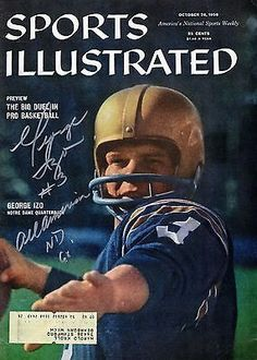GEORGE IZO SIGNED SI MAGAZINE - OCTOBER 26, 1959-NOTRE DAME-ALL AMERICAN-JSA