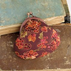 Coin Purse Burgundy with Grapes and Leaves, $20.00