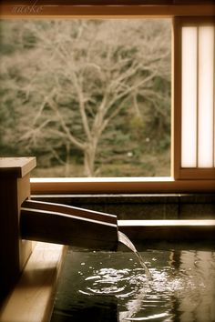 Love this water fountain for the soaking tub ...Japanese hot spring in Seiryuso(Rendaiji-onsen,Shizuoka)