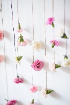 Flowers strung with twine from a Boho & Bubbly Baby Shower via KARA'S PARTY IDEAS | KarasPartyIdeas.com (24)
