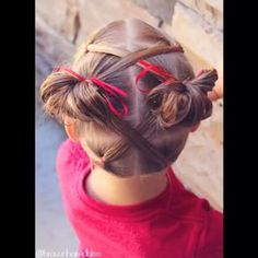 • V I D E O • Toddler Hairstyle • Elastics Criss Crossed into Messy Buns • FULL TUTORIAL on my YouTube Channel { link in profile ⤴️ } • @peinadosvideos #peinadosvideos