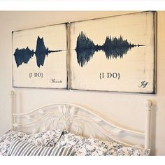 """His & hers printed sound waves of them saying ""I do"". Such a beautiful idea! Tag your girls and love"""