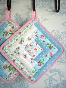 Pair of Cath Kidston patchwork pot holders handmade