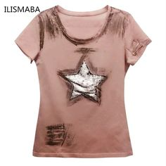 ILISMABA moda t shirt women 2017 new estate manica corta grande stella a cinque punte super flash fori rosa camicia di estate XL XXL in ILISMABA moda t shirt women 2017 new estate manica corta grande stella a cinque punte super flash fori rosa camicia di estate XL XXLda T-shirt su AliExpress.com | Gruppo Alibaba
