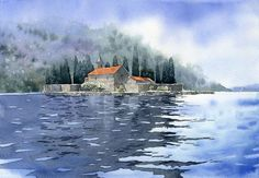Montenegro by GreeGW on DeviantArt Watercolor Sea, Watercolor Landscape Paintings, Watercolor Artwork, Watercolor Portraits, Montenegro, Oil Painting Techniques, Art Drawings, Painting Illustrations, Landscapes