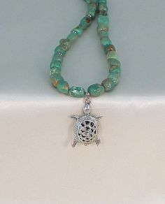 Turquoise necklace turtle pendant hypoallergenic by BlingbyDonna