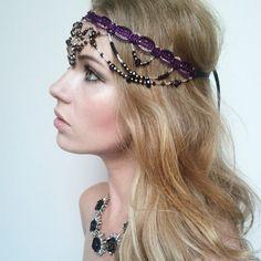 Gold and Purple Beaded and Jewel Headpiece -  Indian Wedding Headband -  1920 Purple Gold Headband by Miss S-a Headbands